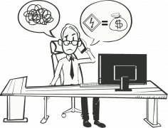 man at desk with two thought bubbles showing confusion about how to reduce costs